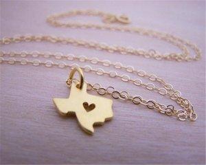 Gliederung Texas Karte mit Herz Halskette USA TX State Halskette I Herz Liebe Texas Halsketten Karte Geographie