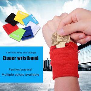 Travel Sweatband Running Wrist Wallet Key Sport Wristband with Zipper Pocket &T8
