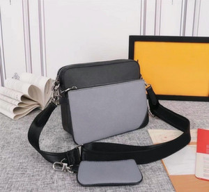 الثلاثي رسول حقيبة الكسوف عكس قماش رجل crossbody حقائب 3 قطعة مجموعة أزياء جلدية الرجل حقيبة الكتف مع محفظة المحفظة مخلب M69443