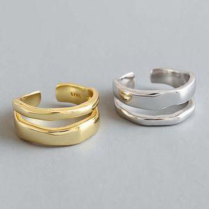 Pareja S925 plata de ley par anillo abierto con personalidad irregular doble capa lisa Wave Anillos anillo de la forma geométrica pareja