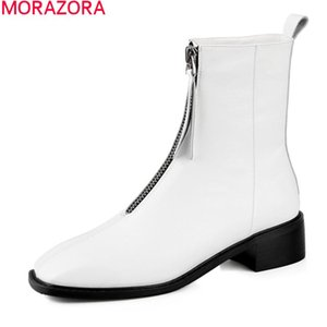 MORAZORA 2020 High quality ankle boots genuine leather boots women comfortable med heels with Zip ladies shoes black white