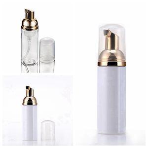 Botellas de espuma de viaje de 50 ml Vacíe las botellas de espuma de plástico con bomba de oro Lavado a mano Jabón Mousse Cream Dispensador Botella de burbujas RRF2925