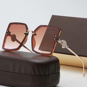 2021 평면 탑 대형 스퀘어 선글라스 여성 패션 레트로 그라데이션 태양 안경 여자 망 남성 블루 빅 프레임 빈티지 안경 UV400