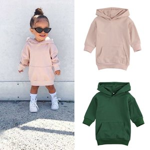 FOCUSNORM Autumn Fashion Kids Girls Hoodies Dress Outfits 1-5Y Solid Long Sleeve Pullover Pocket Long Length Straight Dress