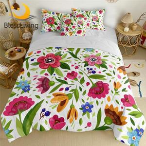 BlessLiving Flowers Duvet Colorful Air-conditioning Bed Cover Floral Summer Blanket Kids Girls Leaf Plant Bedding Quilt 4-Piece