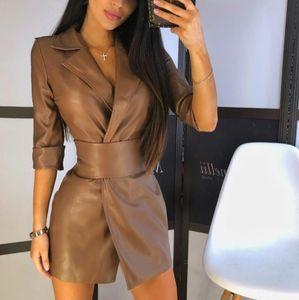 Veste en cuir femme avec ceinture Style européen et américain Femmes Collier sur mesure Collier PU Cuir Vestes 2 couleurs Taille S-XL