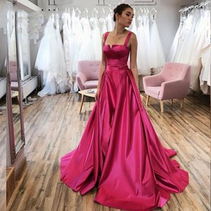 Spaghetti Straps 2021 New Style A Line Satin Evening Dresses Zipper Sexy Back Long Prom Dress Cheap Formal Special Occasion Vestidos