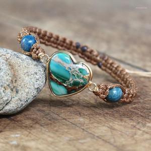 Bijoux faits à la main Apatite Coeur Shape Charme Bracelets Amitié Tressé Macrame Bracelet Lover Bracelet Femme Droptship1