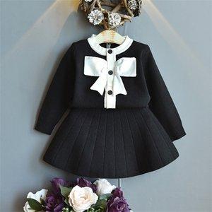 Gooporson Warme Outfits Kinderkleidung Mädchen Mode Fliege Strick Cardigan Pullover Topskirt Niedliche kleine Kinder Kleidung Setx1019