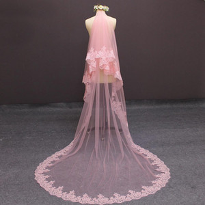 Pink Wedding Veils Lace Applique Edge One Layers Elegant Veils Custom Made High Quality Free Shipping Veil