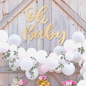 Legno Sticker Oh Baby Girl decorazioni in legno per casa di ripresa Puntelli Sfondo della decorazione della parete della festa di compleanno del bambino accessori per la doccia