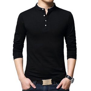 BROWON Brand Autumn Casual Mens T Shirts Fashion 2020 Sold Color Mandarin Collar Long Sleeve T-Shirt Luxury Plus Size M-5XL Y1120