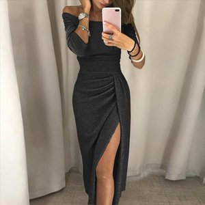 Off Shoulder High Slit Bodycon Dress Women glitter Evening party Long Sleeve vintage elegant Split Dresses vestidos mujer 3s