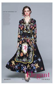 2021 Neue Mode Dame Robe Stil Kleider, Nizza Retro Palast Druck Kleid von Frauen, Langarm V-Ausschnitt Sliming Kleider