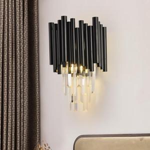 Modern Black Wall Lamp Bedside Bedroom Living Room Light Crystal Sconce for Home Interior Indoor lighting