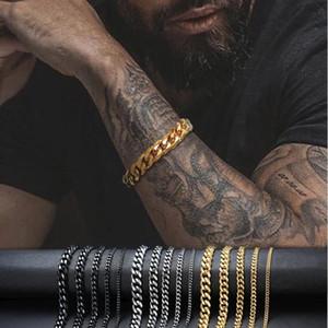 3 мм-11 мм мужской 14K позолоченный браслет женские кубинские ссылки цепи из нержавеющей стали бордюры браслеты золотые серебряные черный цвет браслеты