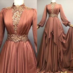 Graceful High Collar Muslim Evening Dresses Appliques Beaded Sequined Draped Skirt Arabic Dubai Formal Evening Gown