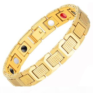 2020Men's Gold Bracelet Health Energy Stainless Steel Biomagnetic Bracelet Men's Bracelet