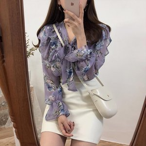 Tempo coreano Limited poliéster regular Broadcloth Full V Pescoço Vadim Spring Korea New Shirt Vintage Imprimir