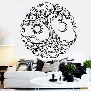 Árbol de la vida Muro de la pared Símbolo abstracto Luna sol Día Noche Vinilo Pegatinas de pared Sala de estar TV Fondo Art Decoración de la pared Y896 201202