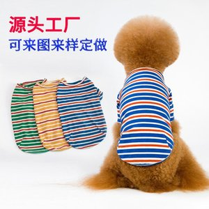 19 Years New Style Pet Clothes Stripes Dog T-shirt Teddy Law Bucket Small And Medium Dog Clothes1