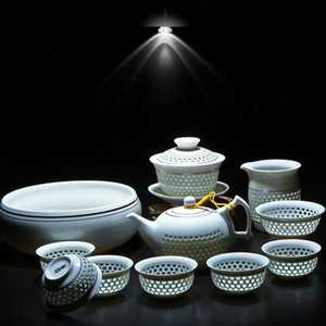 11PCS Hollow Honeycomb Kung Fu Tea Set Blue and White Porcelain Drinkware Ceramic Glass Teacup Teapot Gaiwan Strainer Fair Cup F1218