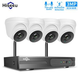 Hiseeu 3MP 8CH CCTV الأمن كاميرا نظام لاسلكي NVR H.265 في اتجاهين الصوت كيت HD 1536P داخلي المنزل فيديو المراقبة 1T HDD LJ201209