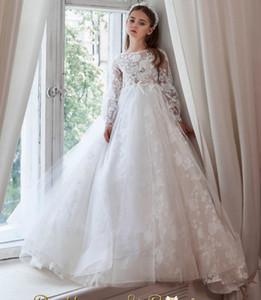 Lace Beaded 2020 Flower Girl Dresses Long Sleeves Sheer Neck Little Girl Wedding Dresses Cheap Communion Pageant Dresses Gowns ZJ7039