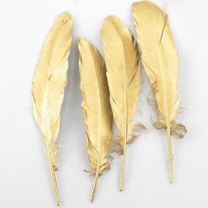 4-6 pulgadas de oro pluma pluma artesanía suministros de artesanía decoración de la boda piezas centrales / web celebridad decoración de la pared con accesorios de sombrero HHE3374