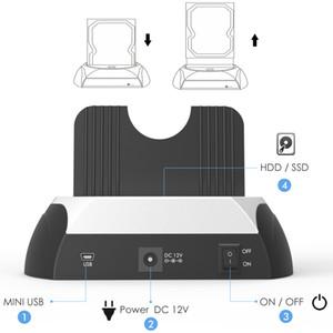 Freeshipping All in One SATA HDD Docking Station 2.5 / 3,5 Zoll SSD Externer Festplattenlaufwerk Gehäuse Base Box USB Hub Kartenleser heiß