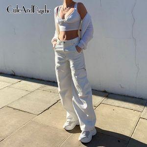 Streetwear высокой талией для Вырез Негабаритные Boyfriend штаны Женщины Упругие Сыпучие мешковатые джинсы Женская 90х Cuteandpsycho