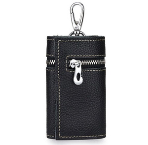 Genuine Leather 6 key chain card holder coin purse multi-function men & women's large-capacity cowhide waist key wallet card case bag Yt11