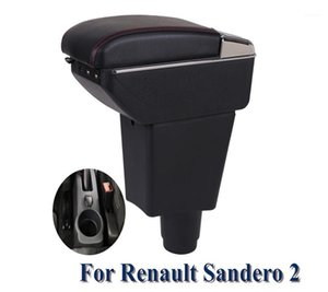 New Armrest Box For Sandero 2 chargeable Armrest In Car Storage Box For Sandero 2 PU Leather Auto tool accessories1