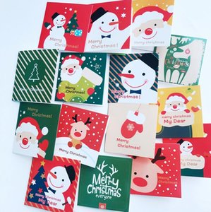 128 card+128 envelope  lot Cute Cartoon Mini Santa Claus Snowman Merry Christmas Postcard Small Greeting Card Gift Cards Christmas Cards