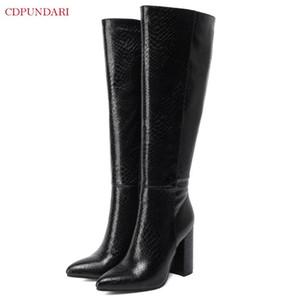 Schwarze sexy spitze Zehe Knie Hohe Stiefel Frauen High Heels Boots Damen Herbst Winter Lange Botas Invierno Mujer