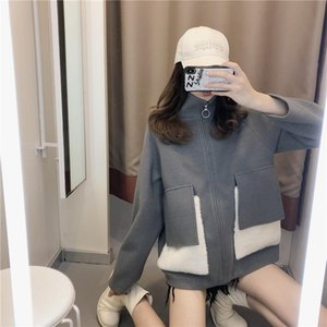 Blue Corduroy sweater zipper coat women's autumn and winter versatile
