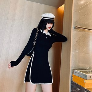 2021 New long sleeved sleeve of vintage black female clothes by polo collar shirt dressed mujer harajuku y283 HX3S