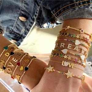 Rainbow CZ Bar Star Link Bracelet Catena Braccialetto 16 + 5cm Braccialetto regolabile 2019 Hot Fashion colorato cz Eleganza gioielli classici per le donne T7190615