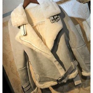 겨울 두꺼운 여성 스웨이드 자켓 코트 짧은 따뜻한 모피 칼라 가죽 2020 Faux WP67 패션 양모 오토바이 코트 양고기 Divuo