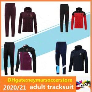 20 21 Manchester Hooded Soccer Jacket Kits Treinamento Terno 2020 2021 Paris Marselha Hoodie Maillot de Foot Jackets Tracksuit