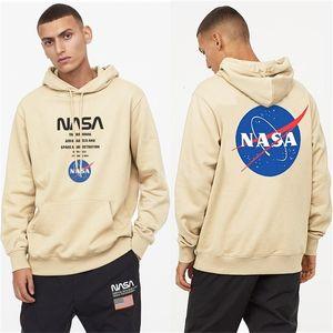 Autumn and winter fashion brand NASA astronaut personalized print men's loose Plush Hooded Sweater sports couple coat women