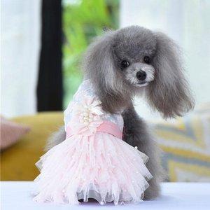 New Princess Dog Dress Tutu Flowers Lace Design Pet Puppy Skirt Spring Summer Apparel 3 Colours 4 Sizes