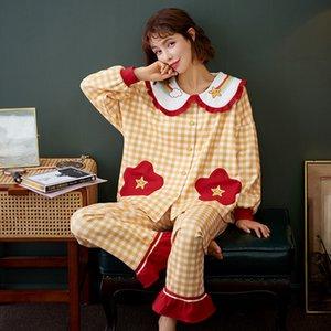 Nightwa зимняя пижама для женщин пижамы для женщин хлопок женские пижамы набор с длинными рукавами + брюки плед ночная одежда кардиган Pijama Pajama 201113