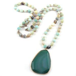 Mode Böhmischen Schmuck Amazoniten Stones Aussage Aussage Facet Drop Anhänger Halsketten für ethnische Halskette Wome Yoga Halskette