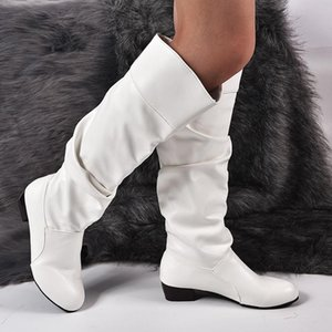 2020 Fashion Shoes Women's Knee-High Boots Winter Knee High Boots High Tube Flat Heels Riding Outside White Shoes