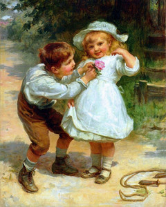 A25Framed &Unframed FREDERICK MORGAN  Sweethearts Hand-painted Portrait Wall Art Oil Painting On Canvas Wall Decoration Multi size Pg1Fr130#