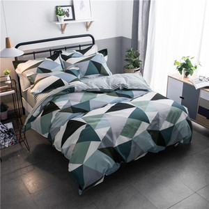 Geometric Print Stripe Bed Cover Set Kid Boy Girl Duvet Cover Adult Child Bed Sheets And Pillowcases Comforter Bedding Set 61053