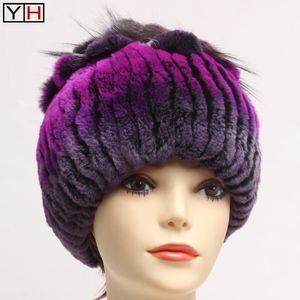 Winter Women's Real Fur Hat Good Elastic Knit Genuine Rex Fur Hat Ladies Warm Thick Soft Natural Rex Caps