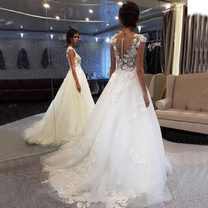 Boho 3D Flower Applique Lace Wedding Dresses Illusion Bodice Sheer Neck A Line Sweep Train Bridal Gowns Charming vestido de noiva