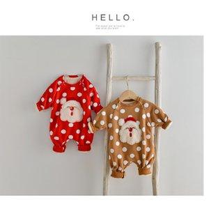 Dibeiberabbit Weihnachten Neugeborenen Jumpsuit Winter Baby Kleidung Santa Fleece Kleinkind Mädchen Strampler Dicke Jungen Playsuit Herbst